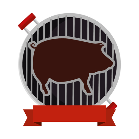 bbq grill oven with pig silhouette vector illustration design