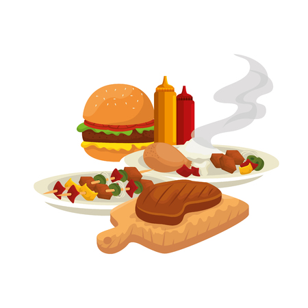 delicious bbq food icons vector illustration design