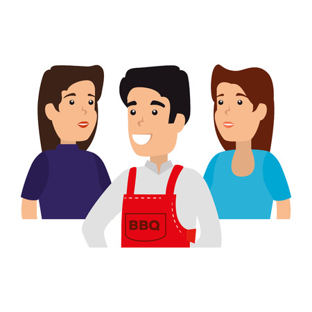 man with bbq apron and friends vector illustration design