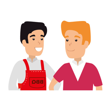 man with bbq apron and boy vector illustration design  イラスト・ベクター素材
