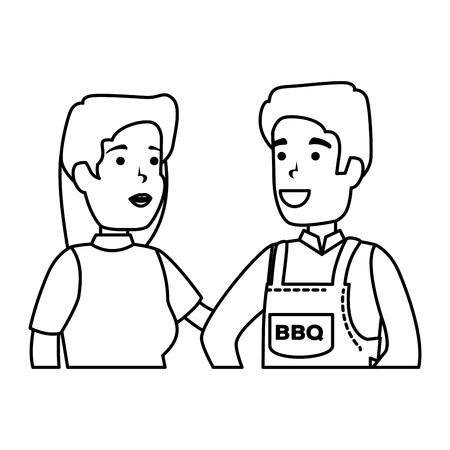 man with bbq apron and woman vector illustration design Foto de archivo - 127638258