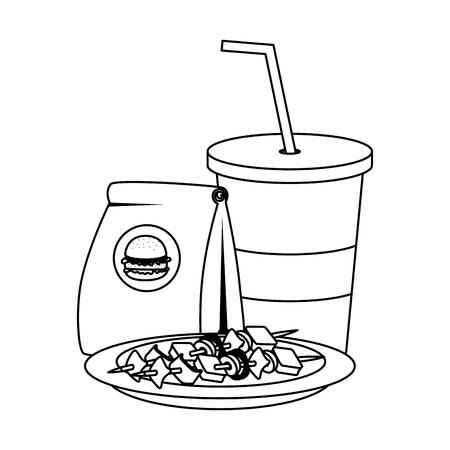 fast food paper bag with hamburger and soda vector illustration design Ilustração