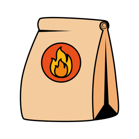 fast food paper bag with flame vector illustration design