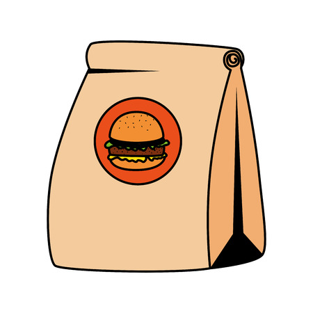 fast food paper bag with hamburger vector illustration design Illustration