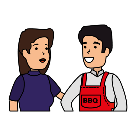 man with bbq apron and woman vector illustration design