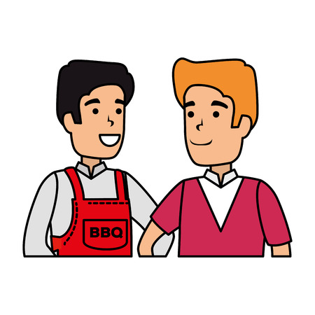 man with bbq apron and boy vector illustration design