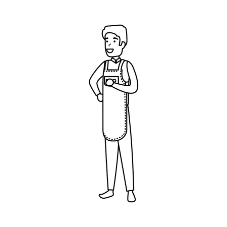 man with bbq apron character vector illustration design  イラスト・ベクター素材