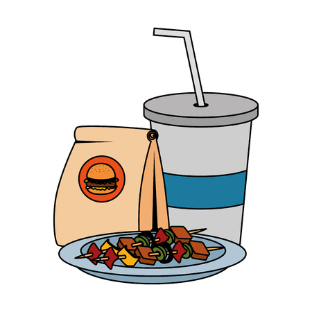 fast food paper bag with hamburger and soda vector illustration design Illustration