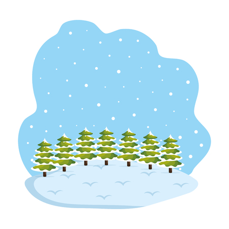 day snowscape field scene vector illustration design