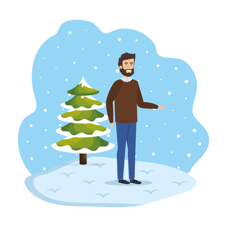 young man with christmas sweater in snowscape vector illustration Standard-Bild - 127638345