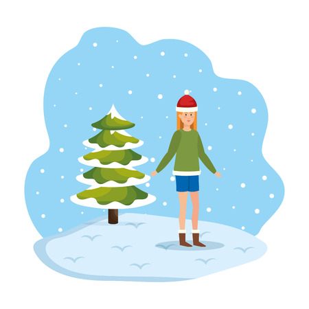 woman with christmas sweater and hat in snowscape vector illustration Standard-Bild - 127638347