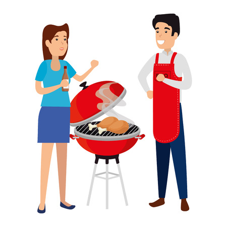 man with bbq apron and girl vector illustration design