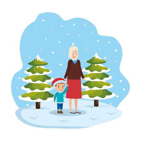 grandmother and grandson in snowscape vector illustration Standard-Bild - 127638361
