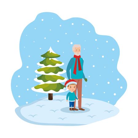 grandfather and grandson in snowscape vector illustration Standard-Bild - 127638362