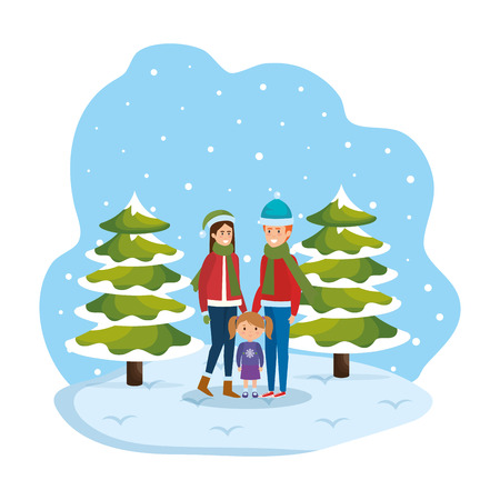 couple with daughter with winter clothes in snowscape vector illustration Standard-Bild - 127638363