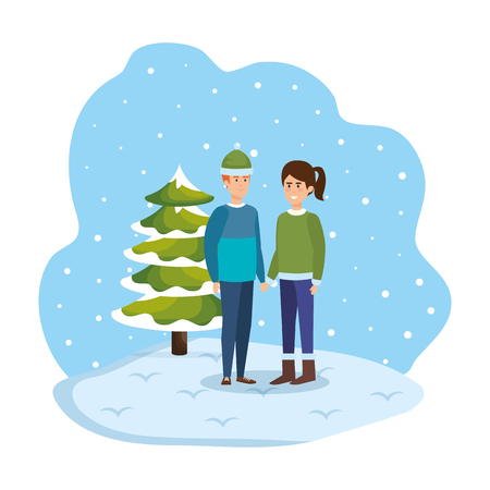 young couple with winter clothes in snowscape vector illustration design Standard-Bild - 127638365