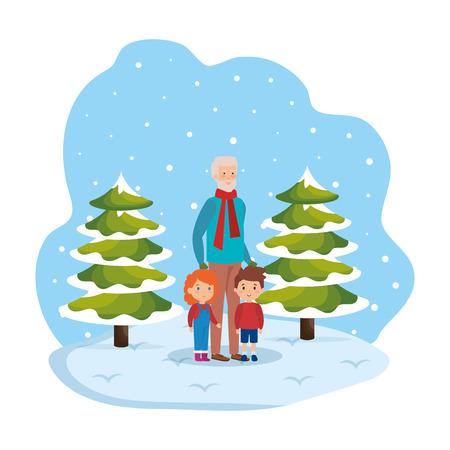 grandfather and kids in snowscape vector illustration design Standard-Bild - 127638366