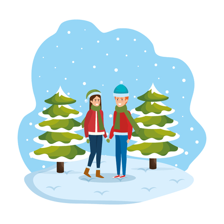young couple with winter clothes in snowscape vector illustration design Standard-Bild - 127638367