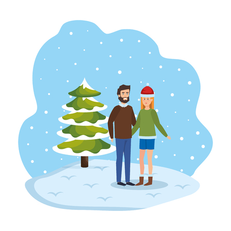 young couple with winter clothes in snowscape vector illustration design Standard-Bild - 127638368