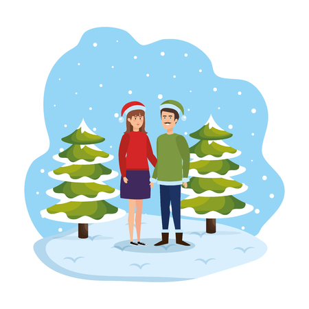 young couple with winter clothes in snowscape vector illustration design Standard-Bild - 127638369
