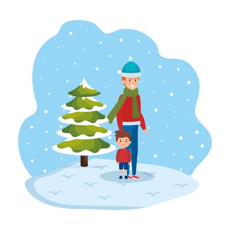 father and son in snowscape vector illustration design Standard-Bild - 127638377