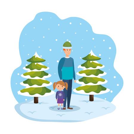 father and daughter in snowscape vector illustration design Standard-Bild - 127638378