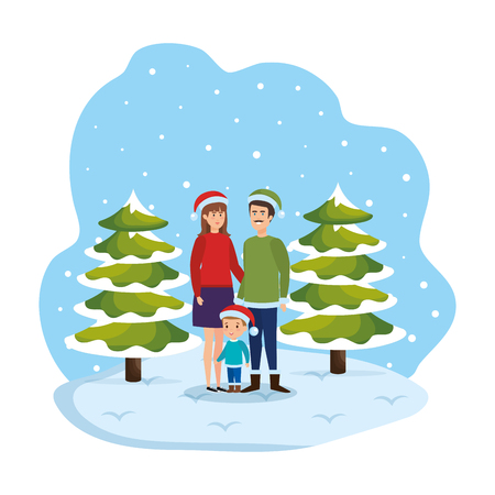 couple and son with winter clothes in snowscape vector illustration Standard-Bild - 127638379