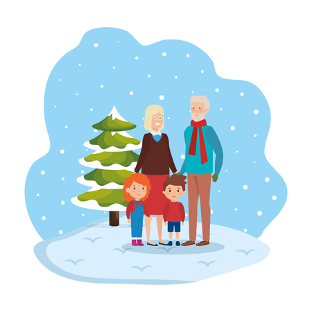 grandparents couple with kids in snowscape vector illustration design