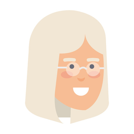 head old woman with glasses avatar character vector illustration design Foto de archivo - 127638393