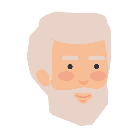 head old man with beard avatar character vector illustration