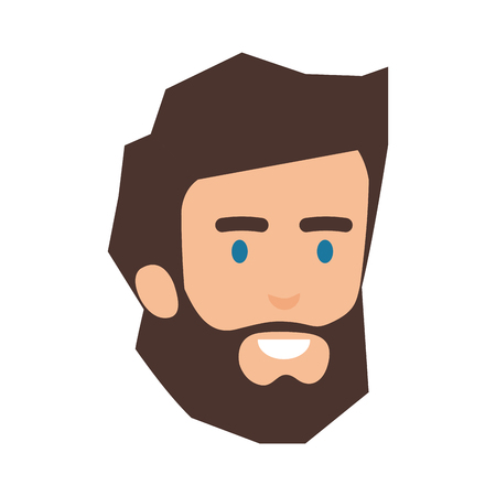 young man with beard head avatar character vector illustration design