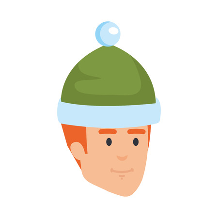 young man head with winter hat vector illustration design 矢量图像