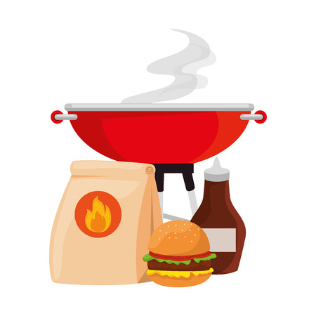 bbq grill oven with burger and sauce vector illustration design