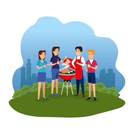 man with bbq apron and people in landscape vector illustration design