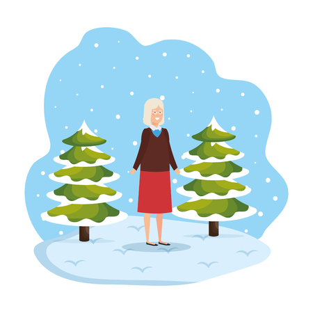 grandmother with december clothes in snowscape vector illustration Standard-Bild - 127638417