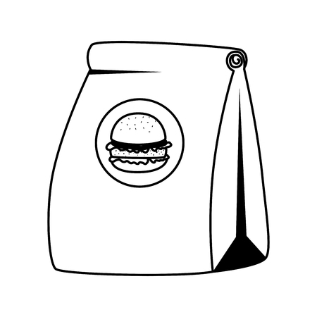 fast food paper bag with hamburger vector illustration design  イラスト・ベクター素材
