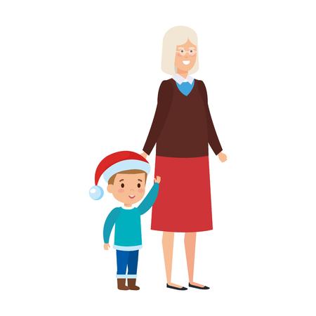 grandmother and grandson with december clothesvector illustration de