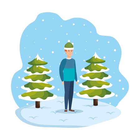 man with christmas sweater and hat in snowscape vector illustration Standard-Bild - 127638432