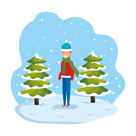 man with christmas sweater and hat in snowscape vector illustration Standard-Bild - 127638434