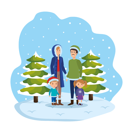 couple with kids and winter clothes in snowscape vector illustration Standard-Bild - 127638435