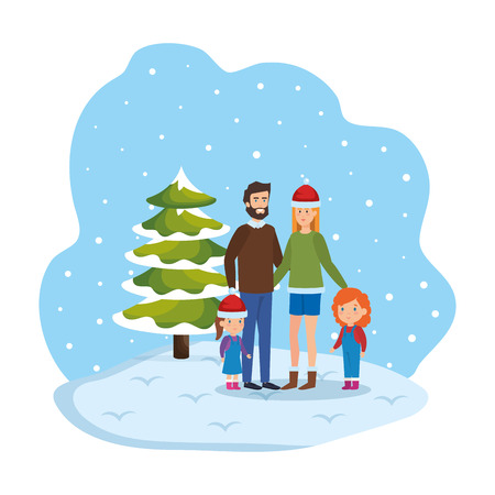 couple with daughters with winter clothes in snowscape vector illustration Standard-Bild - 112154671