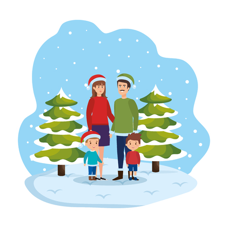 couple with kids and winter clothes in snowscape vector illustration Standard-Bild - 127638437