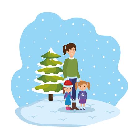 mother and kids in snowscape vector illustration design Standard-Bild - 127638439