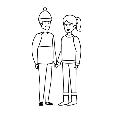 young couple with winter clothes vector illustration design