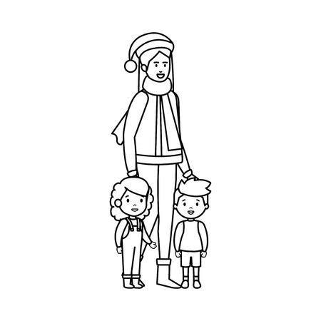 mother and kids with christmas clothes vector illustration design Vectores