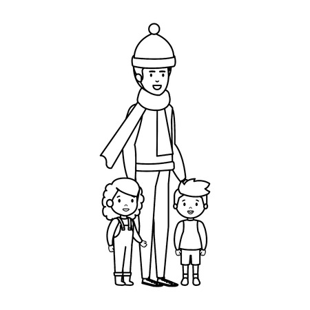 father and kids with christmas clothes vector illustration design