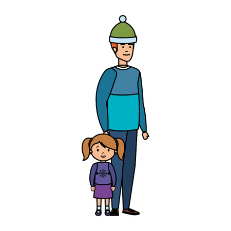 father and daughter with christmas clothes vector illustration design Vectores