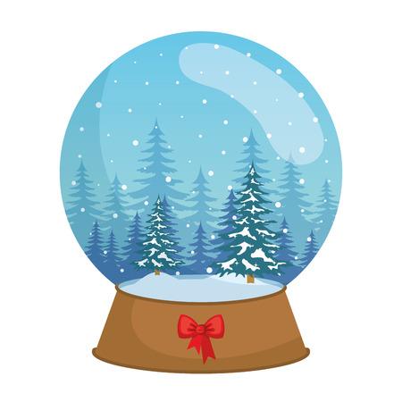 day snowscape scene in sphere christmas vector illustration design Ilustrace