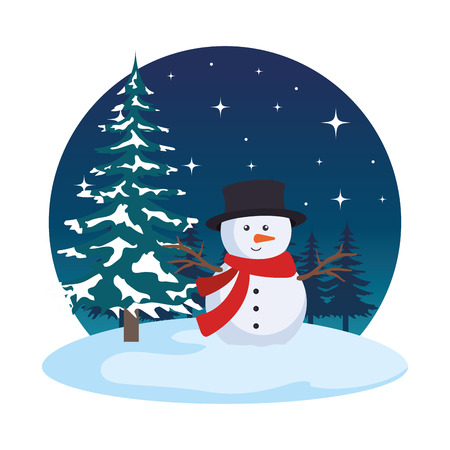 snowscape field with snowman scene vector illustration design Standard-Bild - 127638544