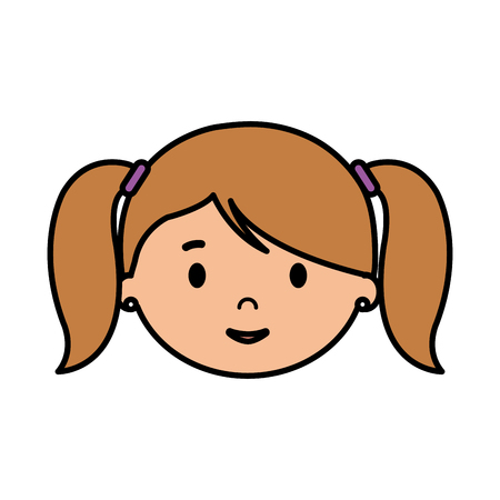 beautiful little girl head character vector illustration design